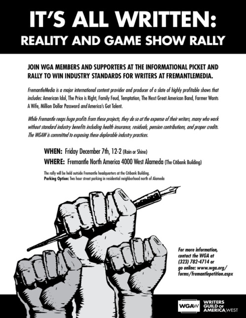 "Rocking ""Reality & Game Show Rally"" poster planned for Dec. 7, 2007!"