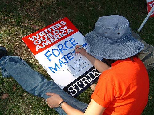 "Patty's ""Force Majeuer This"" picket sign (Dec. 5, 2007)"