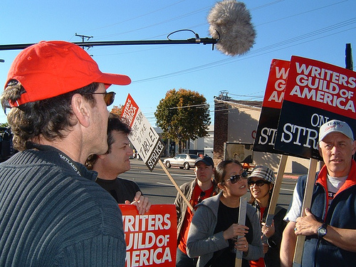 "WGA VP David Weiss rallying the ""troops"" @ NBC (Dec. 10, 2007)"
