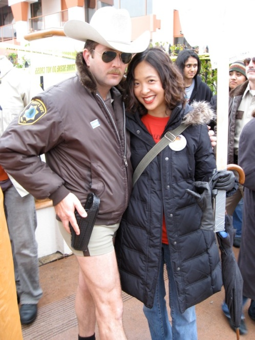 """Reno 991″ star Lt. Dangle & Patty on the picket line (Dec. 18, 2007)"