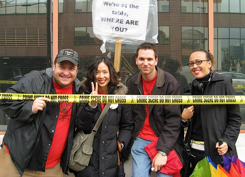 Me, Patty, Aaron & Tanja behind the CRIME SCENE tape (Dec. 18, 2007)